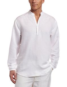 1c6c79be376886 Cubavera Men s Long Sleeve Embroidered Linen Popover Shirt