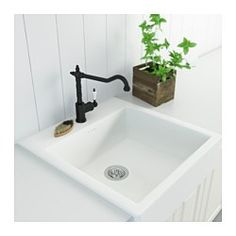 IKEA - GLITTRAN, Kitchen faucet,  , , 10-year Limited Warranty. Read about the terms in the Limited Warranty brochure.You save water and energy, because the faucet has a mechanism that reduces water flow while maintaining pressure.The faucet insert has hard, durable ceramic discs that can handle the high friction that occurs when you change the temperature of the water.