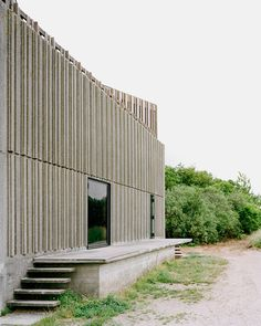 Image 12 of 37 from gallery of Skjern River Pump Stations / Johansen Skovsted Arkitekter. Photograph by Rasmus Norlander Facade Architecture, Landscape Architecture, Lecture Theatre, Outdoor Spaces, Outdoor Decor, Building Exterior, Built Environment, Brutalist, Windows And Doors