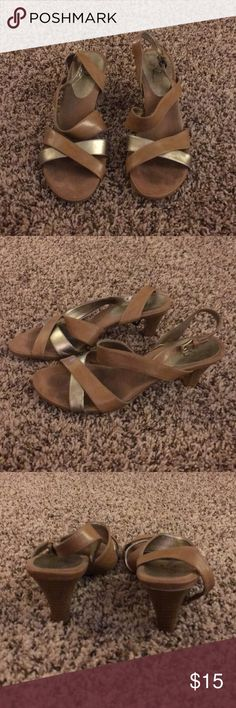Tan and silver strappy heeled sandals 3 inch heel Shoes Heels