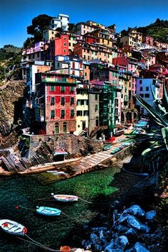 Beautiful village called Riomaggiore in the Liguria region of Italy