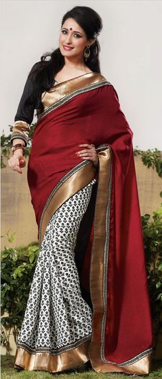 #Maroon and Off White Art #Silk #Saree With Blouse @ $91.75