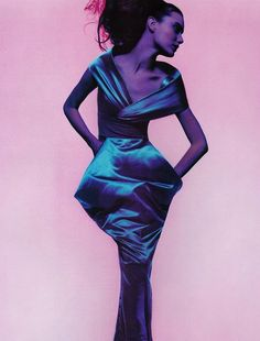 """""""Couture In Colour"""" Shalom Harlow photographed by Nick Knight for Vogue UK 1995"""