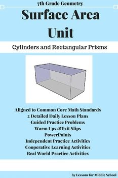 This unit provides many hands on activities and real world problems for students to really understand the application of surface area of different types of prisms.  Students will be instructed through 6 detailed lessons with accompanying PowerPoint presentations, activities and formative assessments.