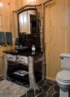 Rustic bathroom vanity.