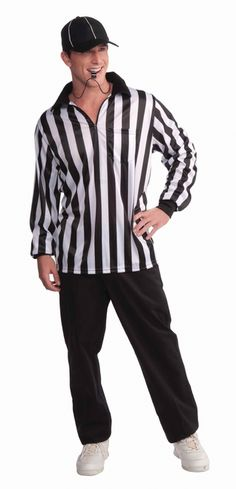 Sports Referee Costume Grab your whistle and get ready to enforce the rules with this fun Sports Referee costume. It includes classic shirt and hat.  Perfect for Halloween, reffing your own games or sporting events. #YYC #Calgary #costume #Referee #Halloween