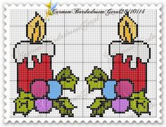 Ângela Bordados                                                                                                                                                                                 Mais Cross Stitch Christmas Ornaments, Xmas Cross Stitch, Cross Stitch Pillow, Cross Stitch Cards, Christmas Cross, Cross Stitching, Embroidery Applique, Cross Stitch Embroidery, Embroidery Patterns