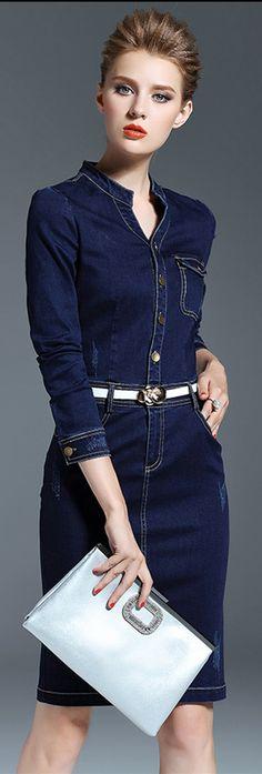 Dark Blue Slit Belted Denim Dress