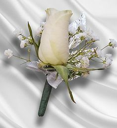 Sterling Silver Boutonniere! made with a single white rose, silver metal foliage and baby's breath $11.95