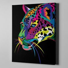 Jaguar Framed Canvas Wall Print Art - Large Retro Decor Painting Prints Cat - Big Portrait On Cotto Painting Prints, Wall Art Prints, Canvas Prints, Tole Painting, Painting Abstract, Wall Canvas, Canvas Frame, Ciel Pastel, Canvas Designs
