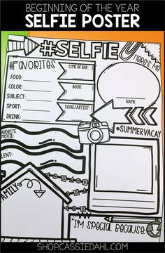 Erster Schultag: Selfie-Poster (All About Me) Ideen fur die schule Get To Know You Activities, First Day Of School Activities, 1st Day Of School, Beginning Of The School Year, Summer School, School Fun, Middle School, Math Gs, All About Me Poster