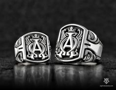 """NightRider Jewelry """"Archetype"""" Alpha Omega Rings in Sterling Silver 