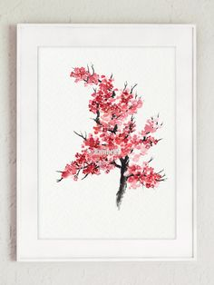 Japanese Cherry Blossom Abstract Flower by ColorWatercolor on Etsy
