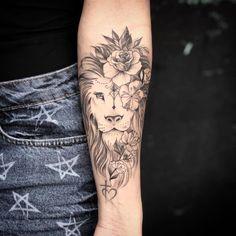 Lion tattoo + flowers on lion tattoo forearm + flowers on . - Lion tattoo + flowers on lion tattoo forearm + flowers on the forearm … – Lion tattoo + flowers - Hand Tattoos, Lion Forearm Tattoos, Forarm Tattoos, Leo Tattoos, Cute Tattoos, Beautiful Tattoos, Flower Tattoos, Body Art Tattoos, Girl Tattoos