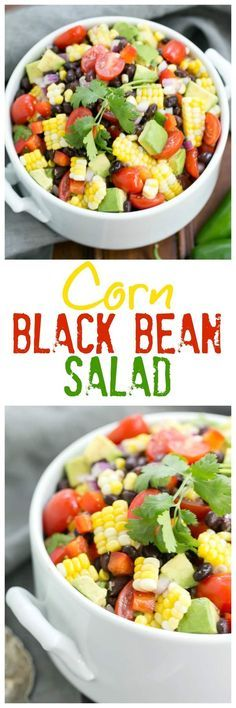 Fresh Corn and Black Bean Salad - Fresh sweet corn, black beans and avocados create the foundation for this delightful salad Healthy Salad Recipes, Vegetarian Recipes, Cooking Recipes, Diabetic Salads, Ww Recipes, Grilling Recipes, Free Recipes, Enchiladas, Salsa