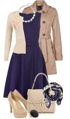 So classy and feminine. Like: cream and tan, fit and flare, cardi with fem details, scarf. Don't like the navy color. Too dark for the whole dress.