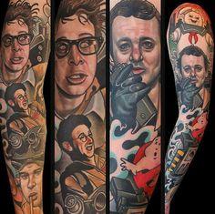 This sleeve is SICK. Tattoo: Dave Wah. #inked #inkedmag #tattoo #sleeve #ink #ghostbuster #movie #amazing