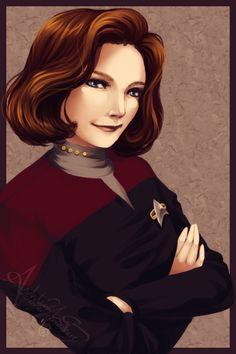 Star Trek Voyager - Captain Kathryn Janeway (Kate Mulgrew) Art Work by UNIesque on deviantART. Watch Star Trek, Star Trek Tv, Star Trek Ships, Star Trek Voyager, Star Wars Art, Akira, Star Trek Posters, Captain Janeway, Star Trek Captains