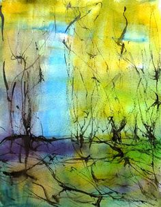 """The Spring"""", by Sirkkaliisa Virtanen, watercolor Watercolor Art, Cold Wax Painting, Painting, Stylized, Wax Painting, Art, Watercolor Landscape, Abstract, Abstract Tree"""
