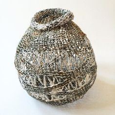 Knitted fiber sculpture H 26cm D 25 cm. #mixedmediaart #contemporaryart…
