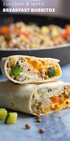 Zucchini Lentil Breakfast Burritos (Make Ahead)
