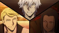 Bungou Stray Dogs, Anime second season episode 5, 3 Organization Wars, Fukuzawa Yukichi of Detective Agency, Mori Ogai of Port Mafia, Francis scott Key Fitzgerald of The Guild