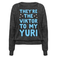 "Show off your admiration for your loved one with this special Yuri On Ice inspired pair design featuring the text ""They're the Viktor To My Yuri"" for your adorable, cute, queer, ice skating, anime boy love! Perfect for loving Yuri and Viktor, sports anime, cute queer things, and showing off your love!"