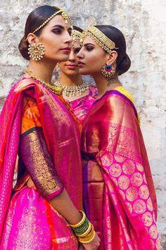 Gorgeous pink benaras silk sarees and bridal jewellery. Maang Tikka. Indian fashion.
