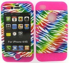 2 in 1 Hybrid Silicone+Cover Case for APPLE iPhone 4 4S  PK / ZEBRA Rainbow