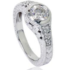 1 Bezel Vintage Diamond Engagement Ring White Gold (G/H, Cheap Engagement Rings, Antique Engagement Rings, Diamond Engagement Rings, Wedding Engagement, Gold G, White Gold Diamonds, Colored Diamonds, Vintage Style Rings, Brilliant Diamond