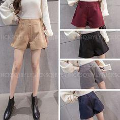 Winter Fashion Women Girls High Waist Wool Blend Casual Shorts Hot Pants Bootcut