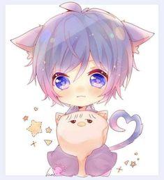 Anime Neko, Cute Anime Chibi, Cute Anime Guys, Anime Art, Neko Boy, Chibi Boy, Neko Kawaii, Kawaii Art, Kawaii Drawings