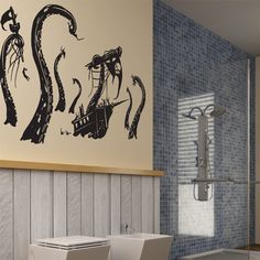 Fab.com | Pirate Ship Attacked 91x48 Black  Pretty sure the boys bathroom needs this!!