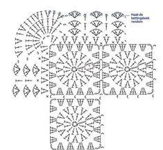 42 New ideas for crochet lace diy granny squares Crochet Edging Tutorial, Crochet Doily Diagram, Crochet Lace Edging, Crochet Borders, Crochet Stitches Patterns, Crochet Chart, Crochet Afghans, Crochet Squares, Baby Blanket Crochet