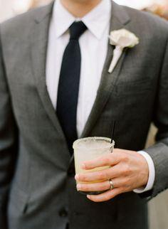 Charcoal suit & black skinny tie