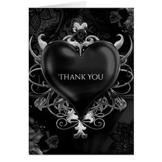 Gothic Thank You Cards Black Gothic Love Heart Wedding Thank You Card