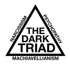 """Pinner: """"Combined, the Dark Triad traits in another person close to you can be detrimental to your mental health. People who score high on the traditional Dark Triad show a pattern of behavior that combines the worst of all worlds. When someone gets in their way, they act out aggressively to take what they want.  If you sense that someone might have the Dark Triad traits, consider yourself warned."""""""