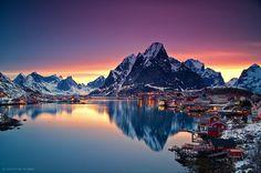午夜太陽,挪威羅弗敦  Midnight Sun, Lofoten, Norway