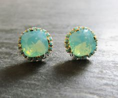 The Great Gatsby Wedding Turquoise Earrings Vintage Downtown Abbey Aqua Mint Studs in Gold Post Vintage Bridal Earrings Bridesmaids Earrings Gift Elegant Victorian