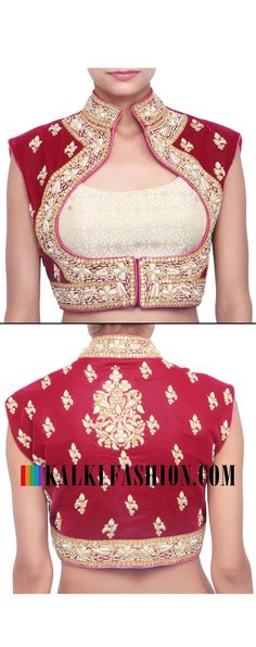 Buy online at: http://www.kalkifashion.com/maroon-blouse-embroidered-in-zardosi-only-on-kalki.html Free shipping worldwide.