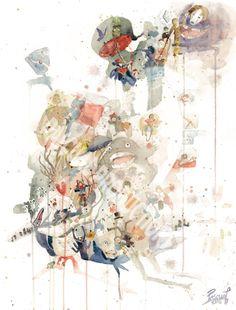 Studio Ghibli Miyazaki Watercolor Painting Art Print by PascualProductions on Etsy https://www.etsy.com/listing/243886742/studio-ghibli-miyazaki-watercolor