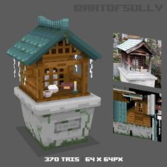 Another asset to play around with this art style. Will be put together at the end into a full scene! Fantasy Concept Art, 3d Fantasy, Game Concept Art, 3d Pixel, Pixel Art, Maya Modeling, Japanese Shrine, Minecraft Decorations, Pixel Design