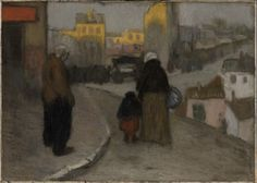Pablo Picasso  -  Scène de rue (Street Scene), 1900; oil on canvas, 18 3/4 in. x 26 1/4 in. (47.63 cm x 66.68 cm); Collection SFMOMA.