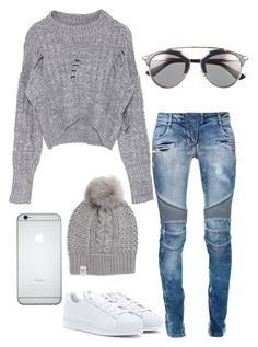 """""""Untitled #266"""" by rayame ❤ liked on Polyvore featuring adidas, Balmain, UGG Australia and Christian Dior"""