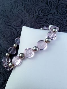 Pink Flat Round Glass Bead with Silver Plated Beads Stretch Bracelet B51 by Libbyscorner on Etsy