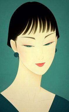 🔆🔆🔆by: Ichiro Tsurato🔆🔆🔆 Japanese visual artist, was born in 1954 in the city of Hondo in Kumamoto Prefecture, Ichiro Tsuruta grew up in Kyushu's Amakusa Region, Japan. Art And Illustration, Moda Art Deco, Estilo Art Deco, Art Deco Stil, Beauty In Art, Kumamoto, Art Deco Posters, Japanese Painting, Japan Art