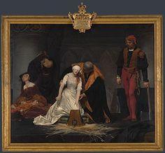 A Execução de Lady Jane Grey, de Paul Delaroche. Já estive sentada diante dele mais de uma hora. É um dos meus quadros favoritos. Apetece-me voltar a Londres só para estacionar diante da beleza.