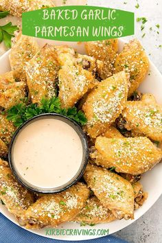 Super crispy baked chicken wings coated with a garlic Parmesan wing sauce. These garlic Parmesan wings are the perfect game day or party food. Garlic Parmesan Wings, Baked Garlic, Garlic Chicken, Keto Chicken, Yummy Appetizers, Appetizer Recipes, Low Carb Recipes, Healthy Recipes, Bar Recipes