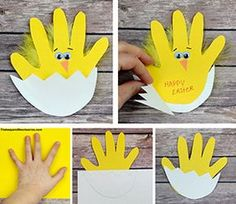 Easter chick handprint card Materials: Yellow and White construction paper or card stock Scissors Wiggle eyes Orange construction paper Glue stick and craft glue Yellow feathers Black pen or maker Directions: Trace your child's hand with pen onto your yellow paper Cut out the out line of their hand Place white paper over the bottom half of your yellow hand and trace a half circle across the bottom and a zig zag across the top half Fold the white paper at the bottom of the egg shell and cu...