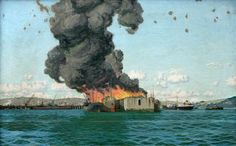 1940 Falmouth Docks was badly bombed. Three vessels were hit. Maria Chandris, The Tuskalusa and The British Chancellor. Fortunately the tanker had no oil on board. This painting by Charles Pears can be seen at Falmouth Art Gallery. Ship Paintings, Your Paintings, Luftwaffe, Falmouth Town, Nautical Art, Art Uk, The Locals, Oil On Canvas, Art Gallery